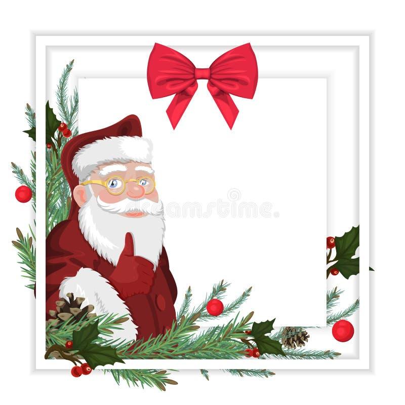 Kerstkaart met Santa Claus, nette twijgen en een mooie rode boog vector illustratie