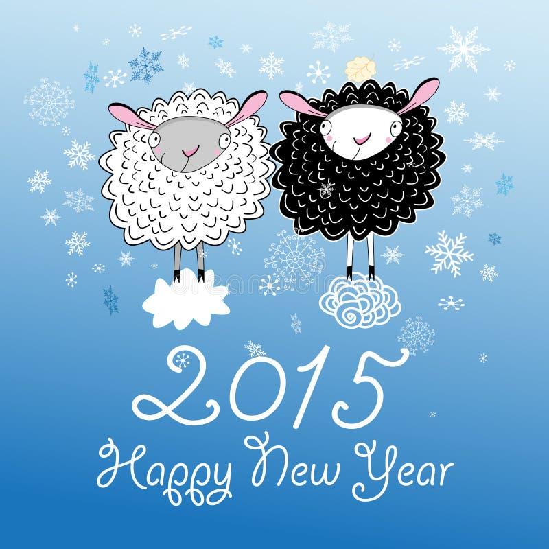 Kerstkaart met schapen royalty-vrije illustratie