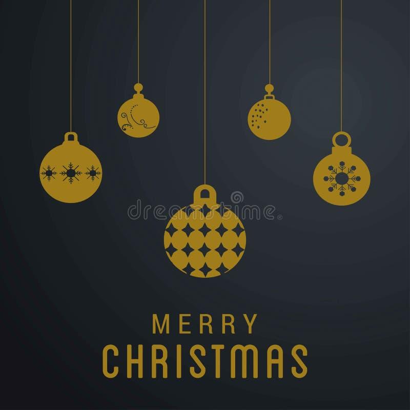 Kerstkaart met sneeuwvlokken en ballen vector illustratie
