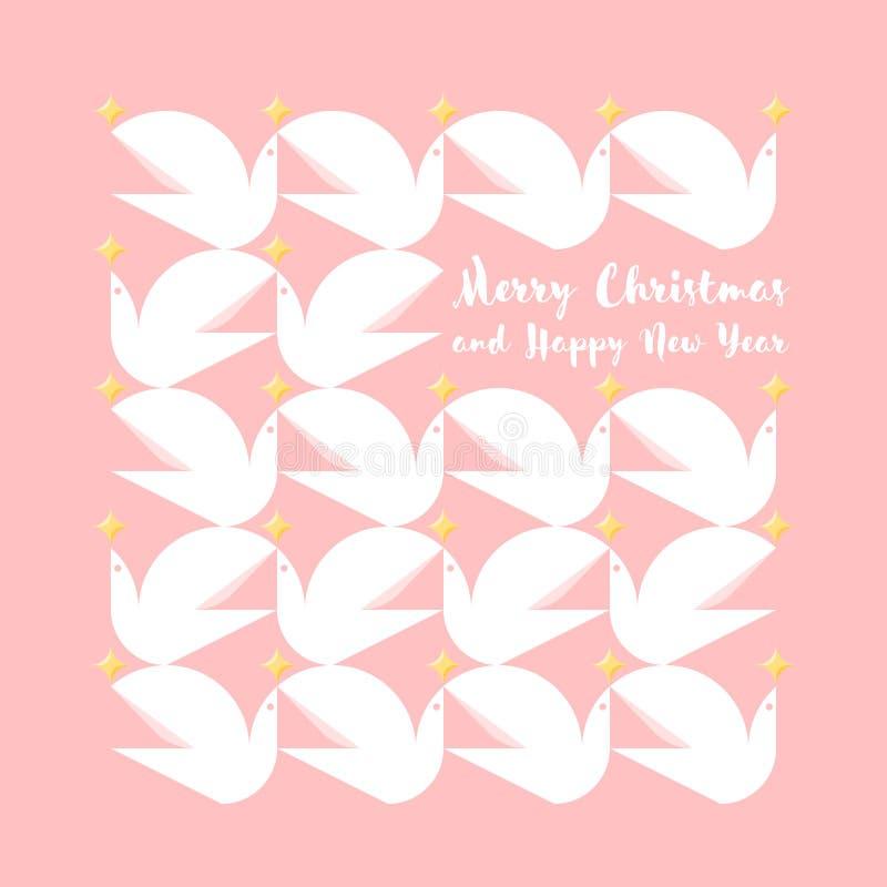 Kerstkaart met vakantiegroeten en patroon van duiven vector illustratie