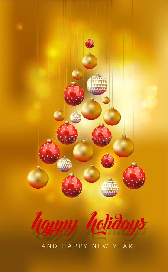 Kerstkaart met verfraaide heldere vergulde ballen op een gouden aangestoken achtergrond vector illustratie