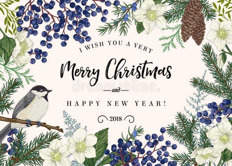 Kerstkaart met vogel royalty-vrije illustratie