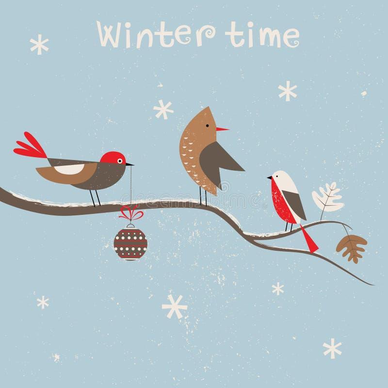 Kerstkaart met vogels.  royalty-vrije illustratie