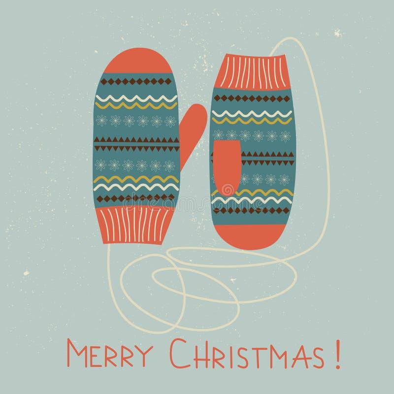 Kerstkaart met vuisthandschoenen.  stock illustratie