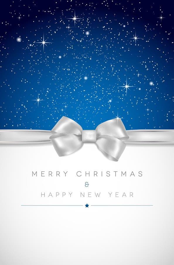 Kerstkaart met zilveren boog, glanzende sterren en plaats voor uw m vector illustratie