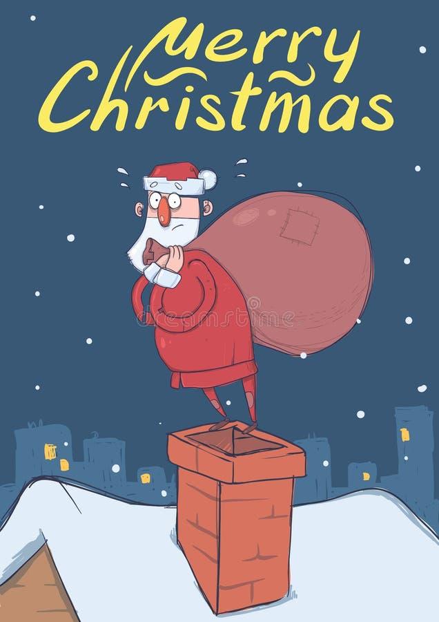 Kerstkaart van grappige verwarde Santa Claus met grote zak die zich op een schoorsteen in sneeuwnachtstad bevinden De kerstman ki royalty-vrije illustratie