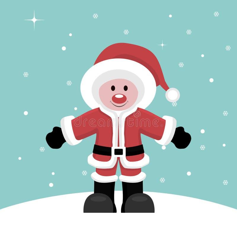 Kerstkaart van Santa Claus-kind onder sneeuw stock illustratie