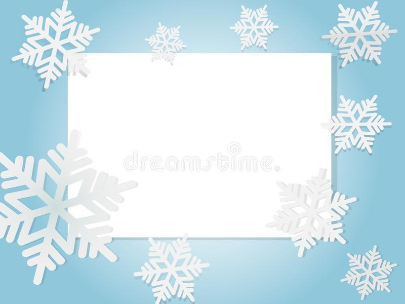 Kerstkaart, witte sneeuwvlokken op blauwe achtergrond vector illustratie
