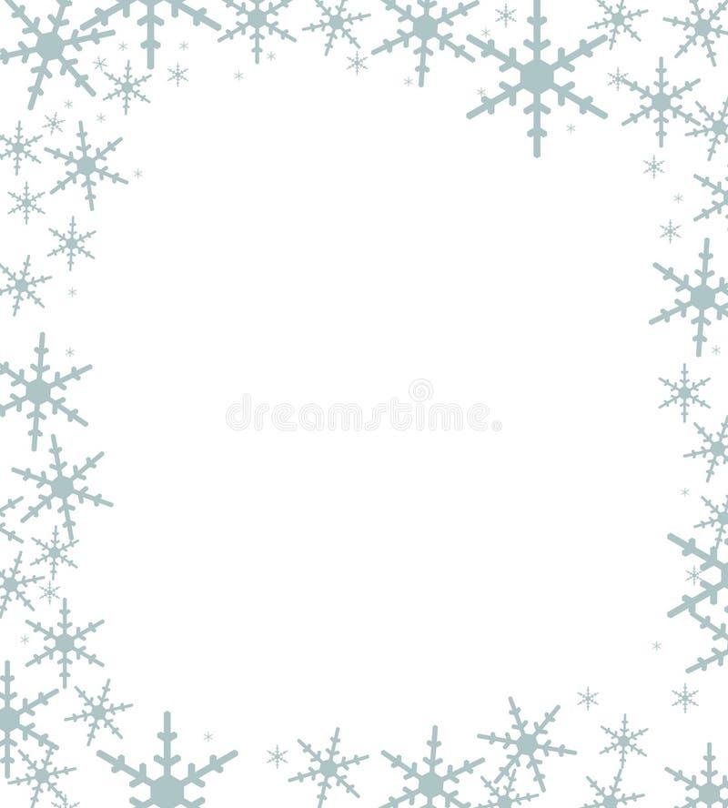 Kerstkaartachtergrond met sneeuwvlokken op de grens en whi royalty-vrije stock foto