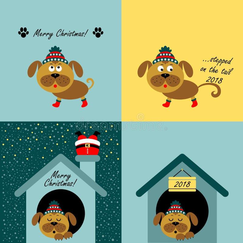 Kerstkaarten met beeldverhaalhonden Vector stock illustratie
