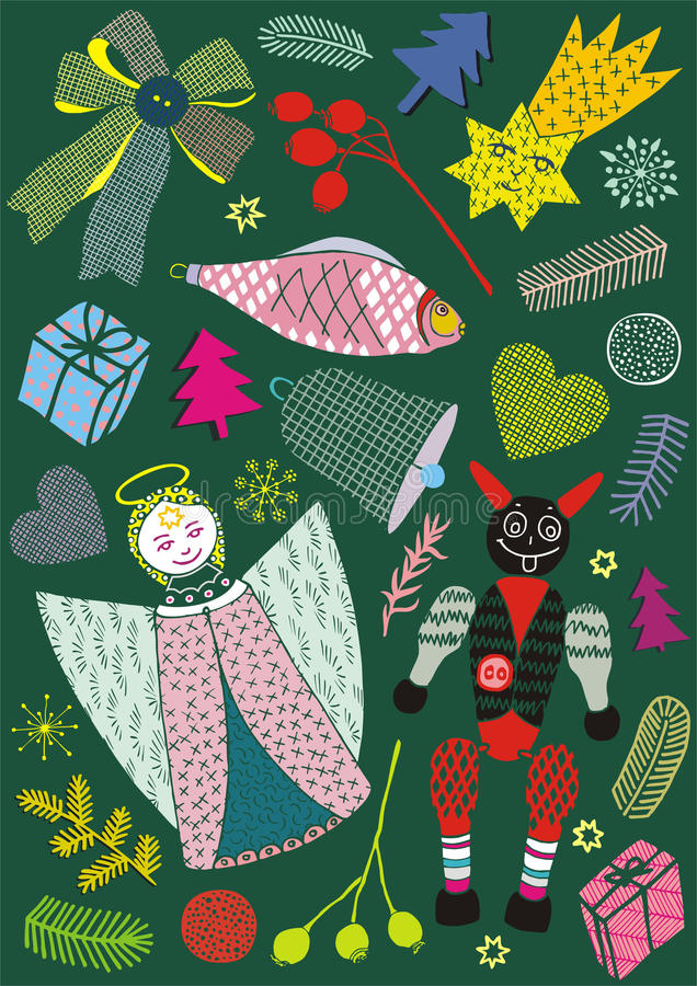 Kerstkaarten met engel, vissen en weinig duivel, vectorgroetprentbriefkaar royalty-vrije illustratie