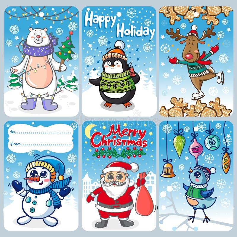 Kerstkaarten met grappige personages vector illustratie