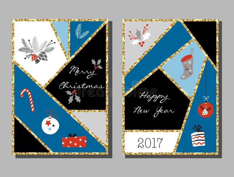Kerstkaarten met verschillende tekens op Kerstmis en Nieuwjaar worden geplaatst dat vector illustratie