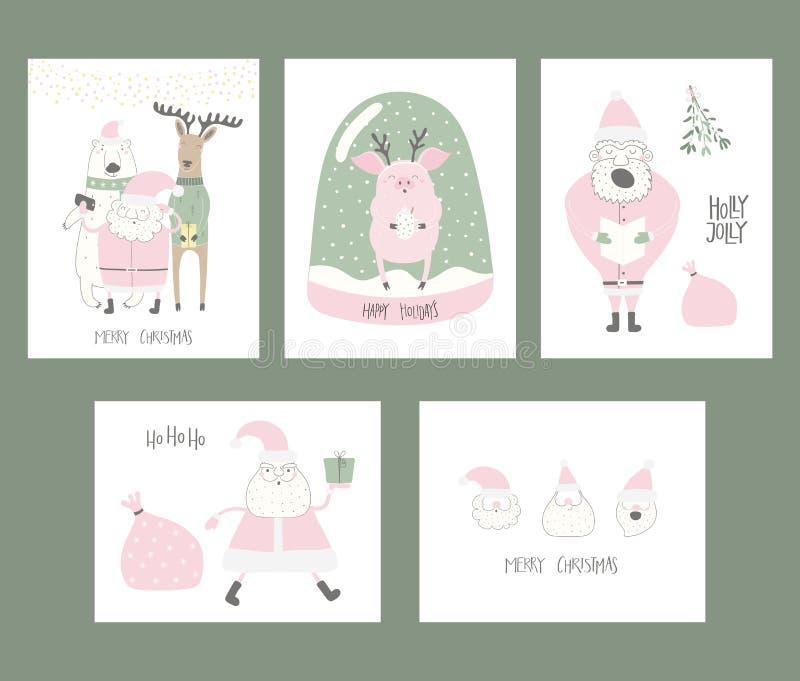 Kerstkaarteninzameling stock illustratie