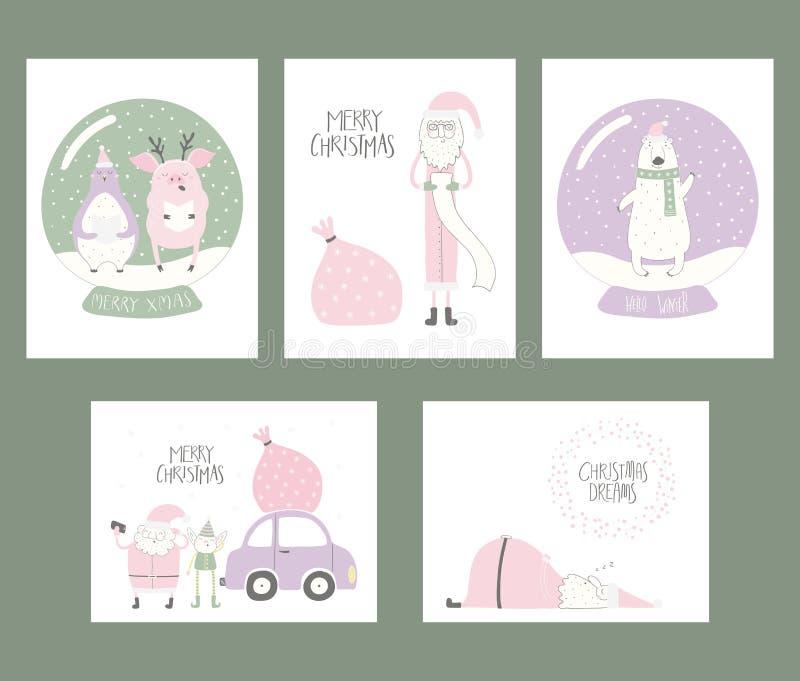 Kerstkaarteninzameling royalty-vrije illustratie