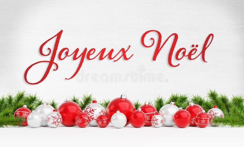 Kerstkaartgroeten met rode en witte kerst en blaasjes 3D-rendering in het Frans vector illustratie