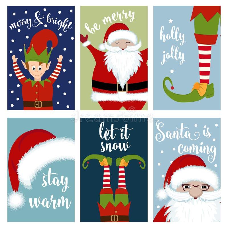 Kerstkaartinzameling met Kerstman en elf royalty-vrije illustratie