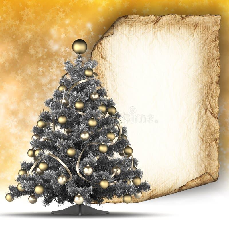 Kerstkaartmalplaatje - document blad en Kerstmisboom vector illustratie