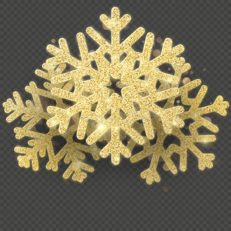 Kerstkaartmalplaatje met het glanzende gouden voorwerp van de sneeuwvlokkenbekleding Eps 10 vector illustratie