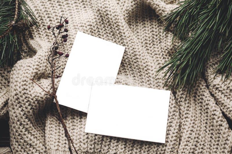Kerstkaartmodel lege Kerstmiskaart met ruimte voor tekst, stock fotografie