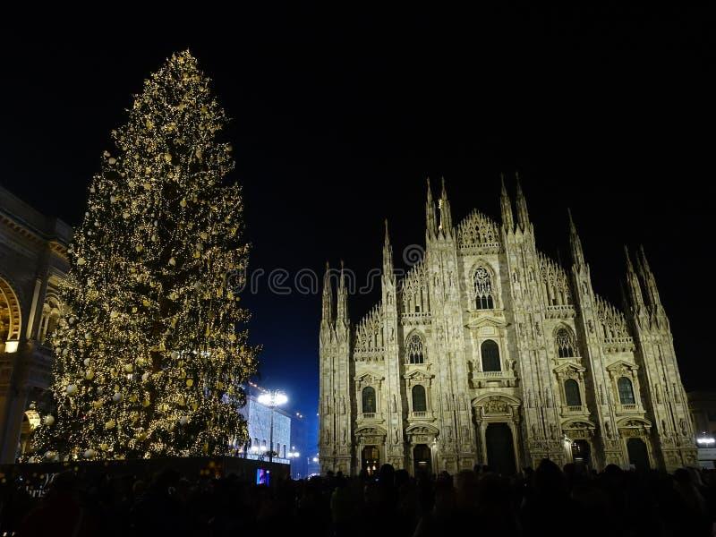Kerstlampjes in Milaan royalty-vrije stock fotografie