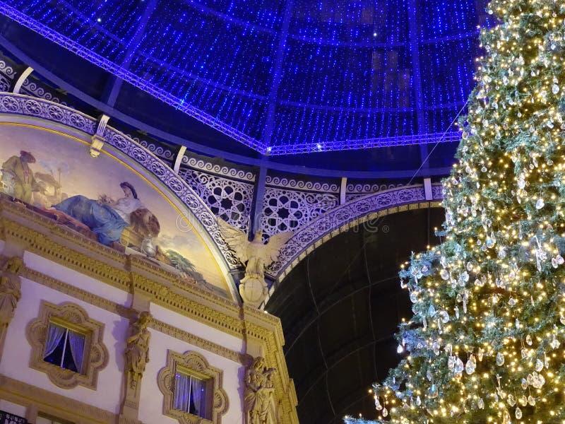 Kerstlampjes in Milaan royalty-vrije stock foto's