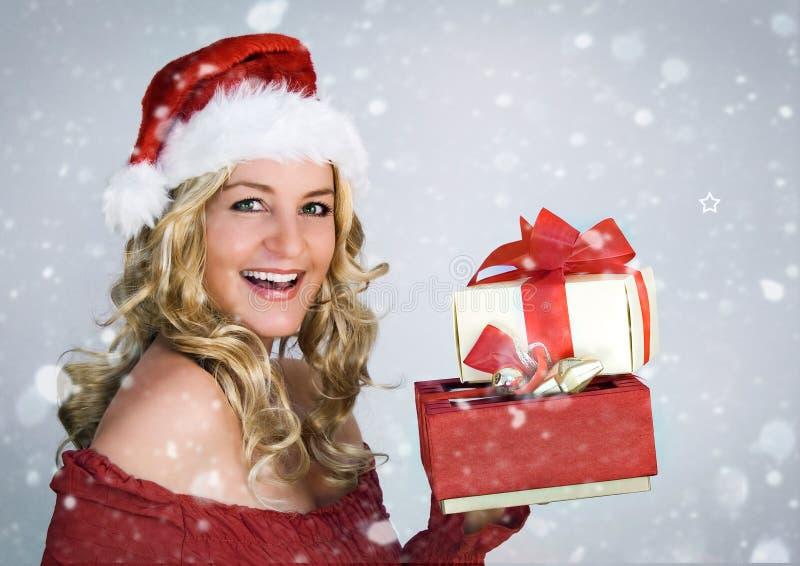 Kerstman 3 met sneeuw stock fotografie