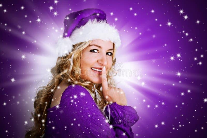 Kerstman 5_violet royalty-vrije stock afbeelding