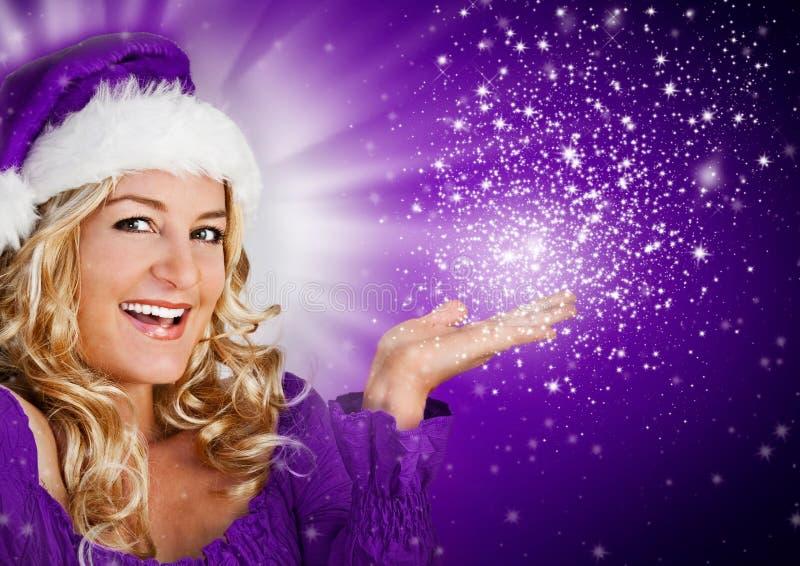 Kerstman 8_violet royalty-vrije stock afbeelding