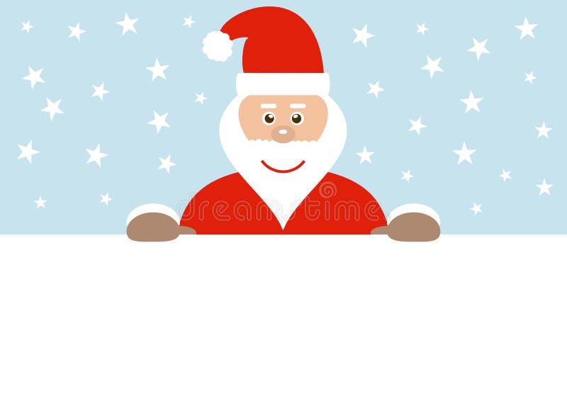 Kerstman achter leeg teken vector illustratie