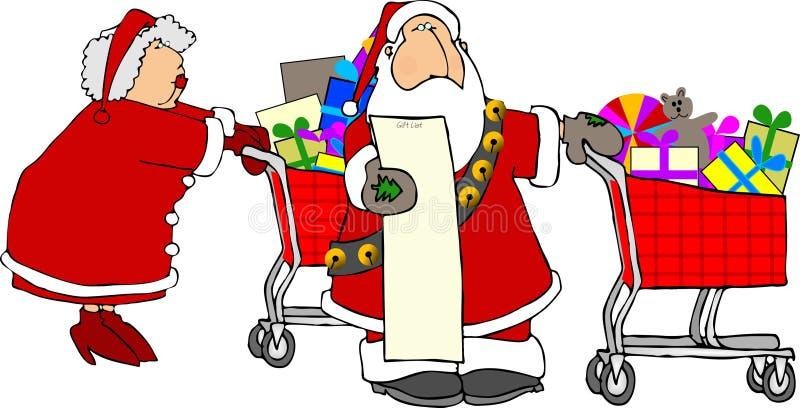 Kerstman & het winkelen van Mevr. Claus vector illustratie