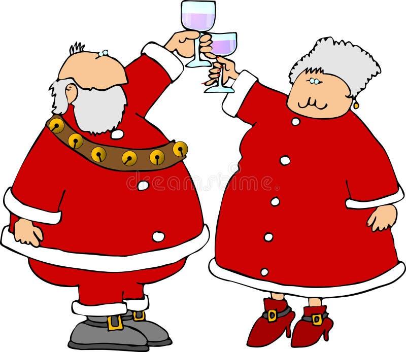 Kerstman & Mevr. Claus die een toost aanbieden royalty-vrije illustratie