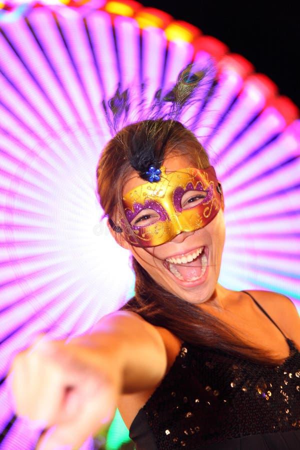 Kerstman Cruz DE Tenerife Carnaval: vrouw in kostuum stock fotografie