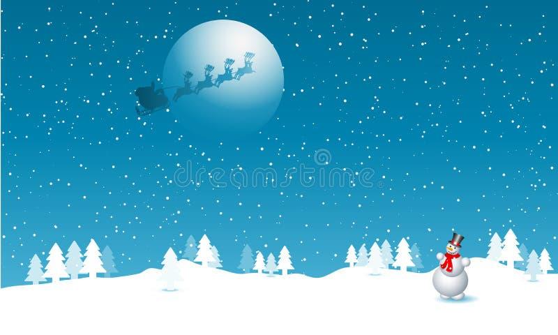 Kerstman in de hemel stock illustratie