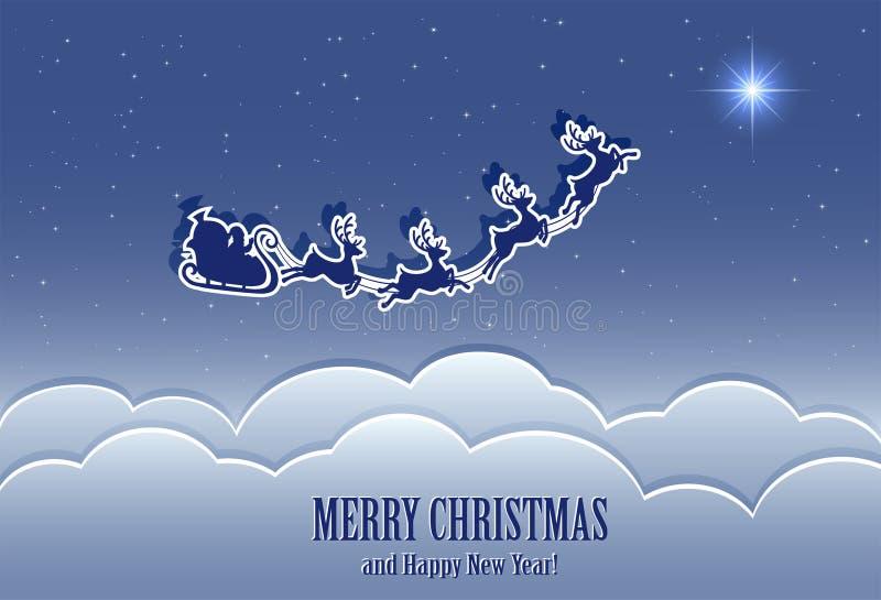 Kerstman in de hemel vector illustratie