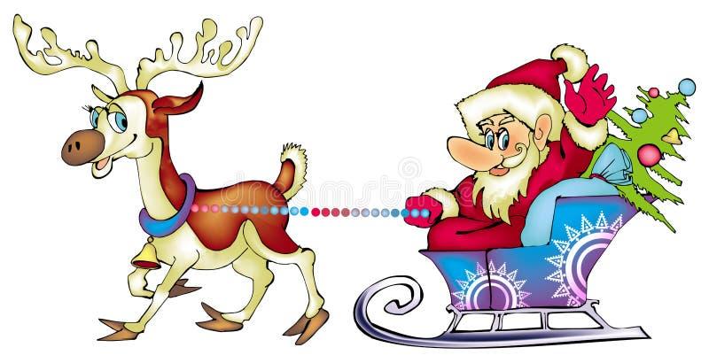 Kerstman de reiziger vector illustratie