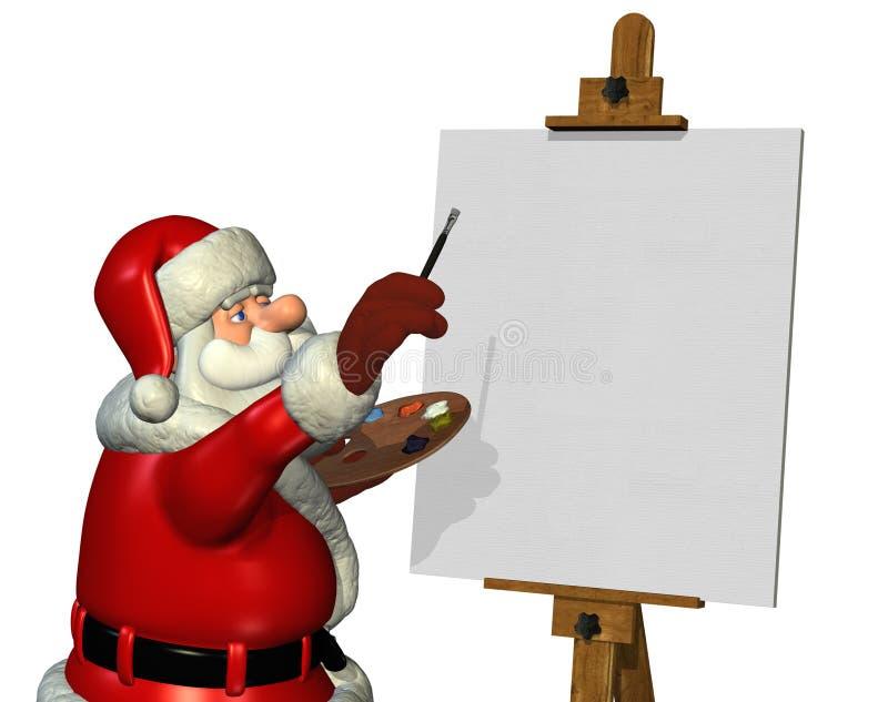 Kerstman die 2 schilderen stock illustratie