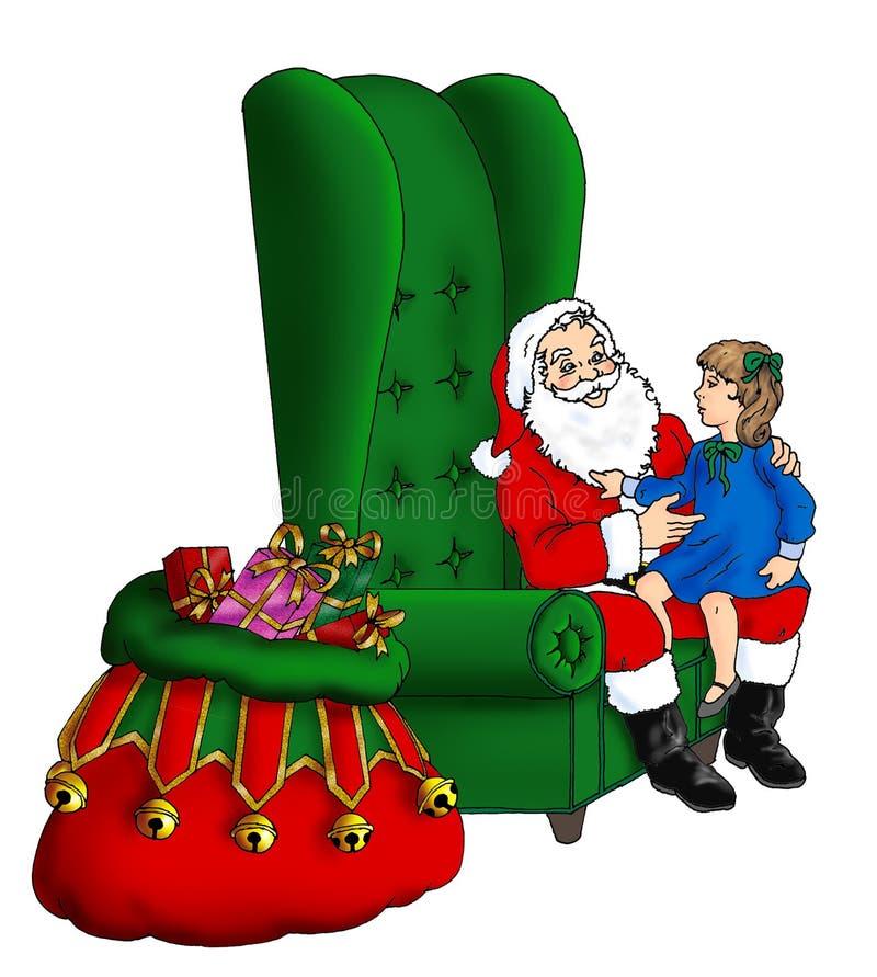 Kerstman die als lange vleugel achtervoorzitter zitten royalty-vrije illustratie