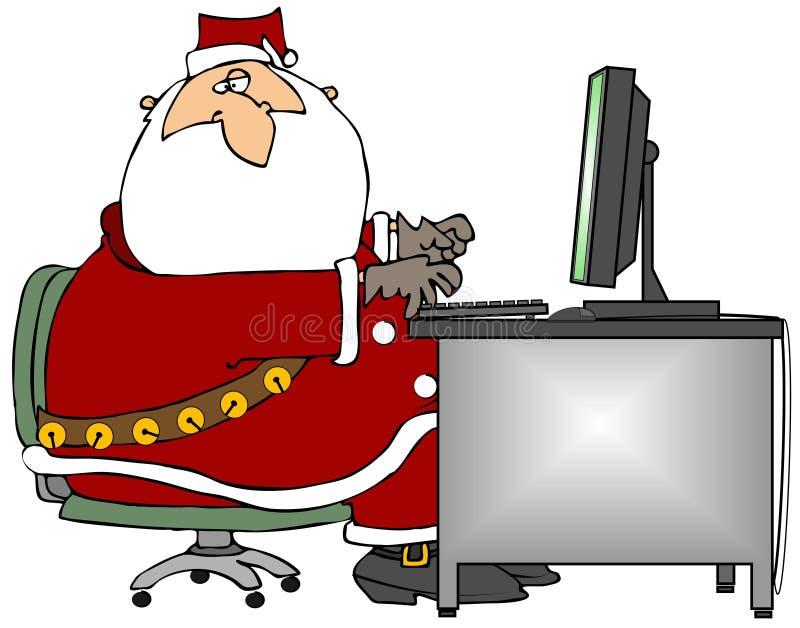 Kerstman die bij een Computer zitten stock illustratie