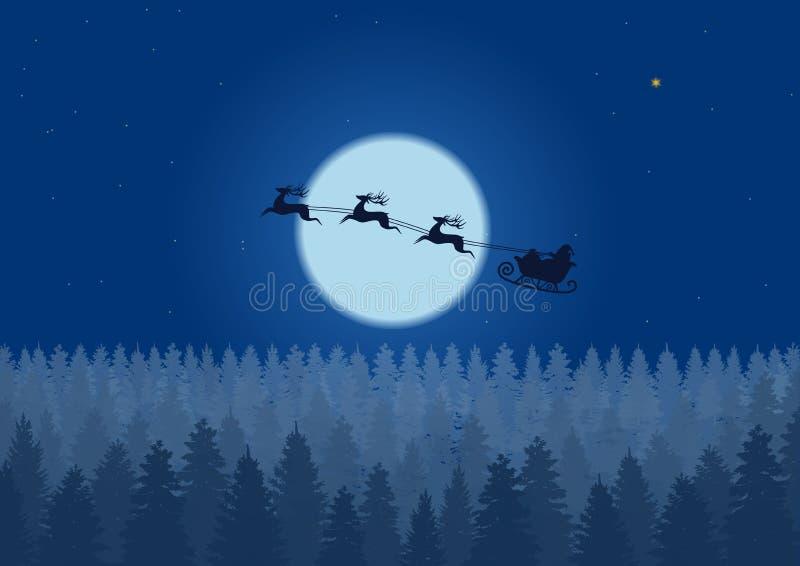 Kerstman die door de nachthemel onder de ar vliegen die van de Kerstmis boskerstman over hout dichtbij grote maan in nacht drijve stock illustratie