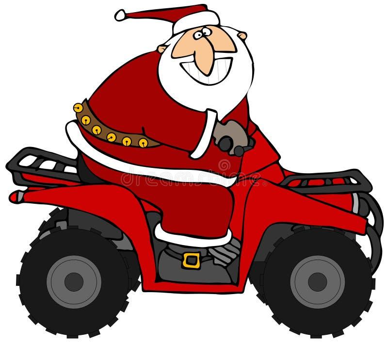 Kerstman die een ATV berijden royalty-vrije illustratie