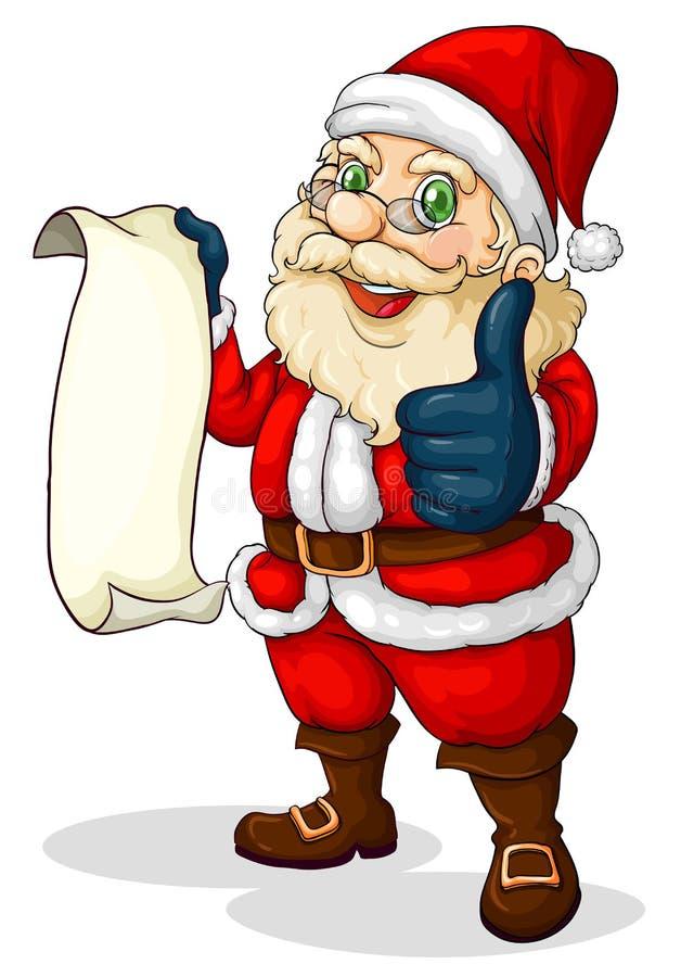 Kerstman die een lege lijst houden voor Kerstmis royalty-vrije illustratie