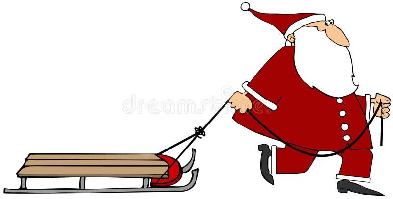 Kerstman die een lege slee trekken vector illustratie