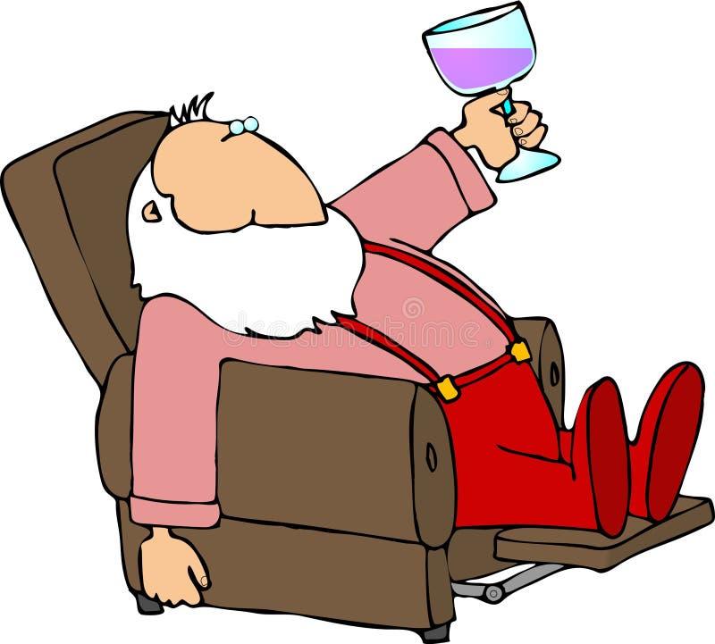 Kerstman die een onderbreking nemen vector illustratie