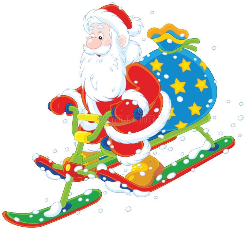 Kerstman die een sneeuwautoped berijden stock illustratie
