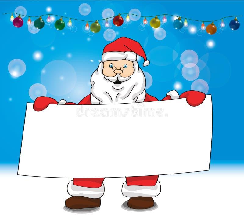 Kerstman die het volledige lichaam van de vertoningsbanner houden stock afbeeldingen