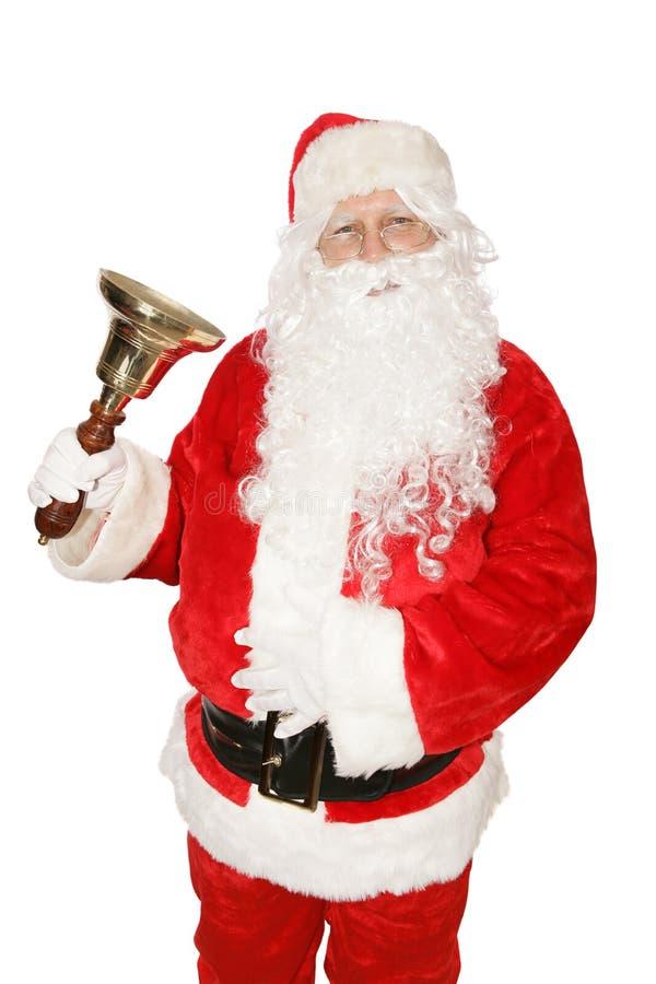 Kerstman die Klok bellen stock afbeelding