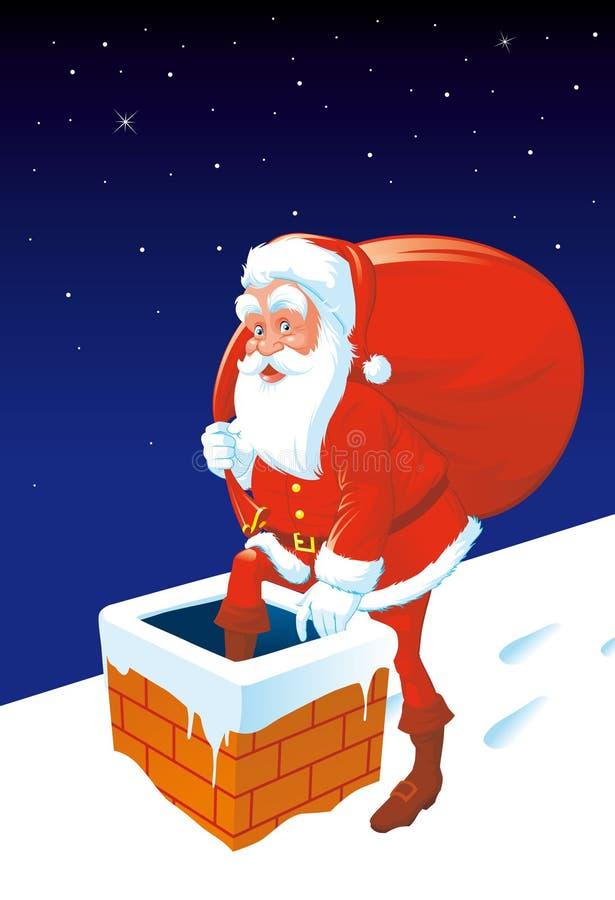 Kerstman die onderaan de schoorsteen gaan royalty-vrije illustratie