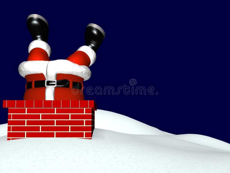 Kerstman die onderaan Schoorsteen 2 gaan vector illustratie