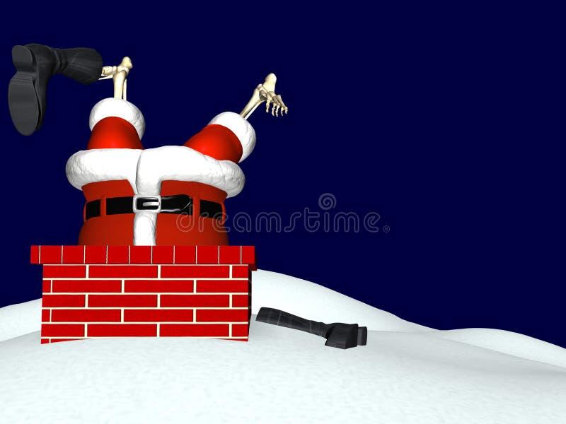 Kerstman die onderaan Schoorsteen 3 gaan royalty-vrije illustratie